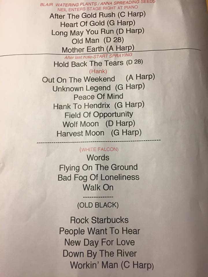 Neil Young Setlist